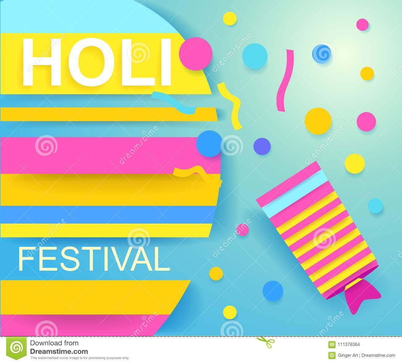 Happy Holi Festival Poster For Promotion Colorful Banner Stock