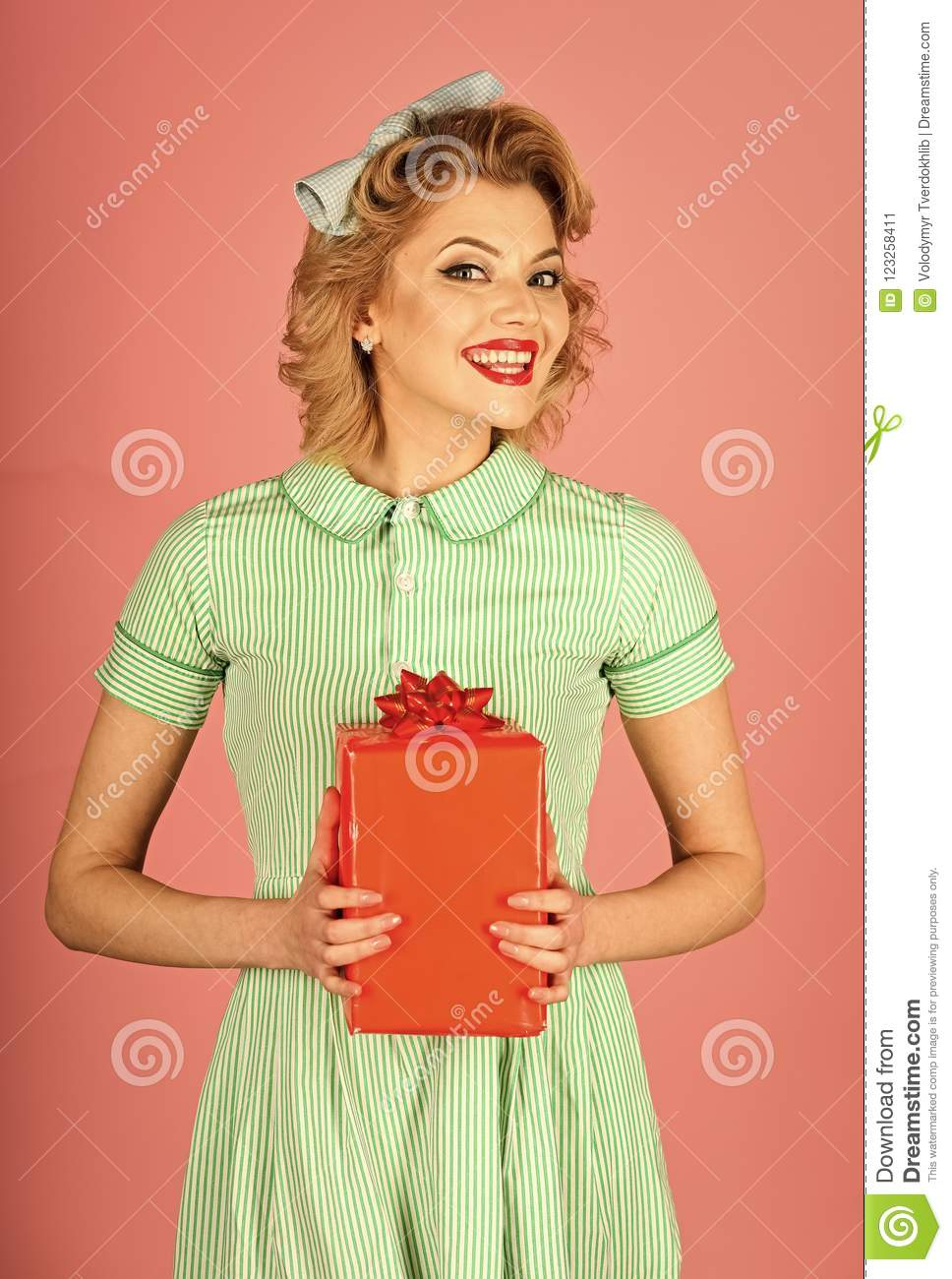 Happy Holiday Celebration Vintage Party Retro Woman With Present