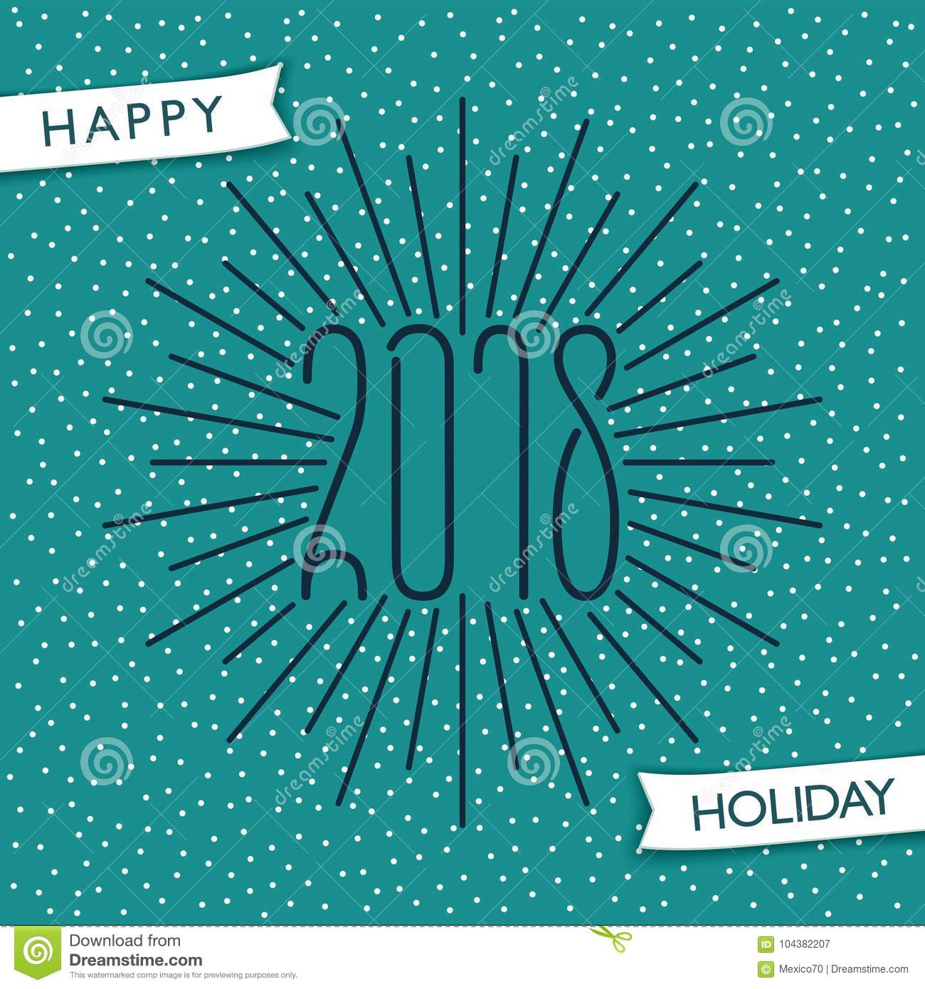 Happy Holiday 2018 Stock Vector Illustration Of Decoration 104382207