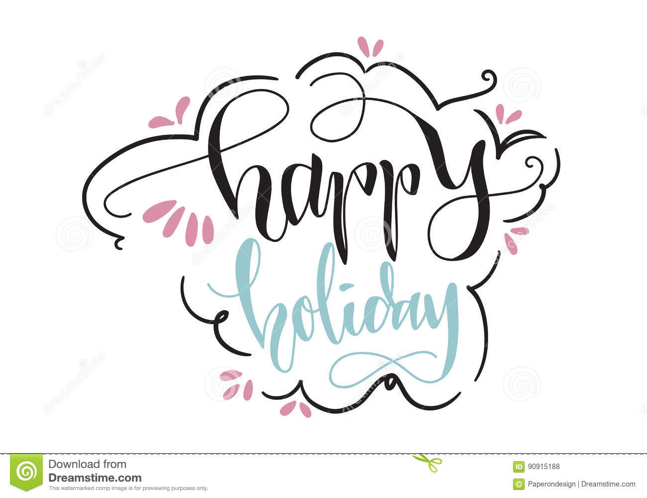 Happy Holiday Hand Lettering Vector