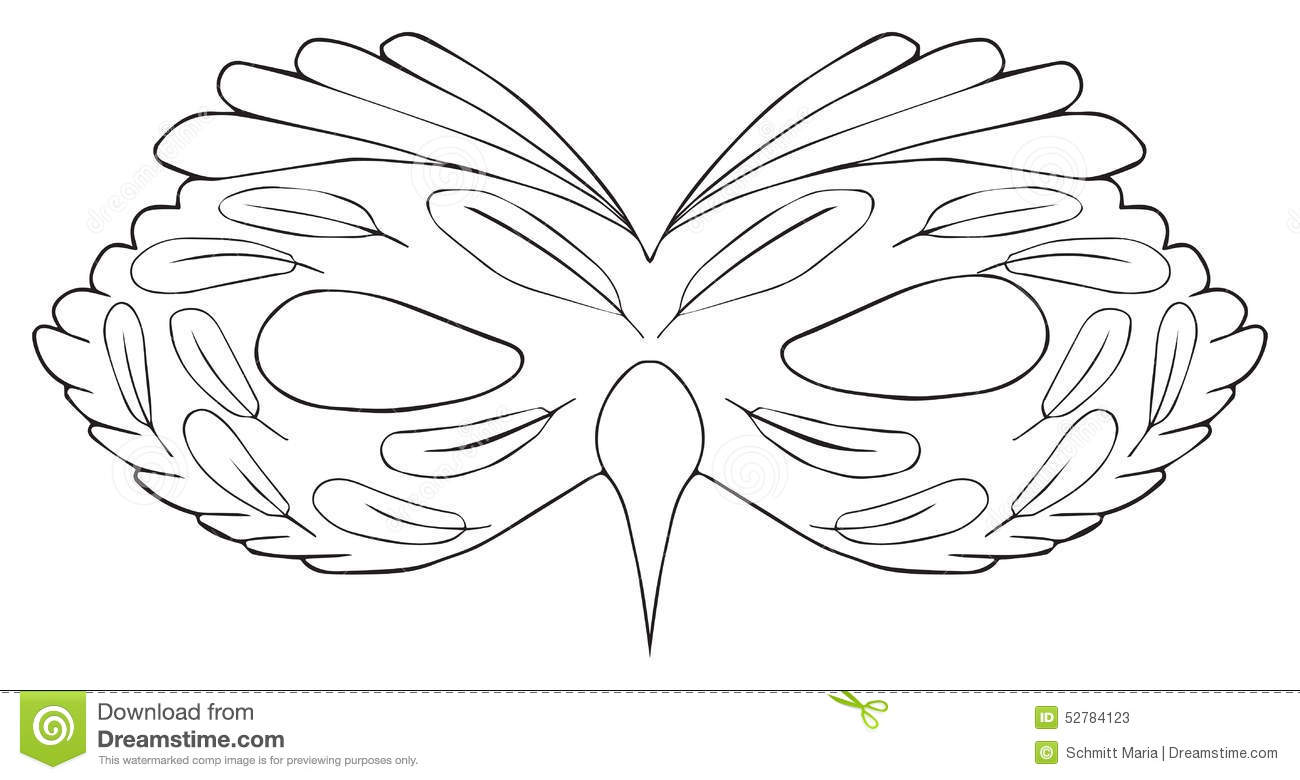 Happy Holiday - Mask Of Bird With A Cirrus Stock Illustration - Illustration Of Beak Drawing ...