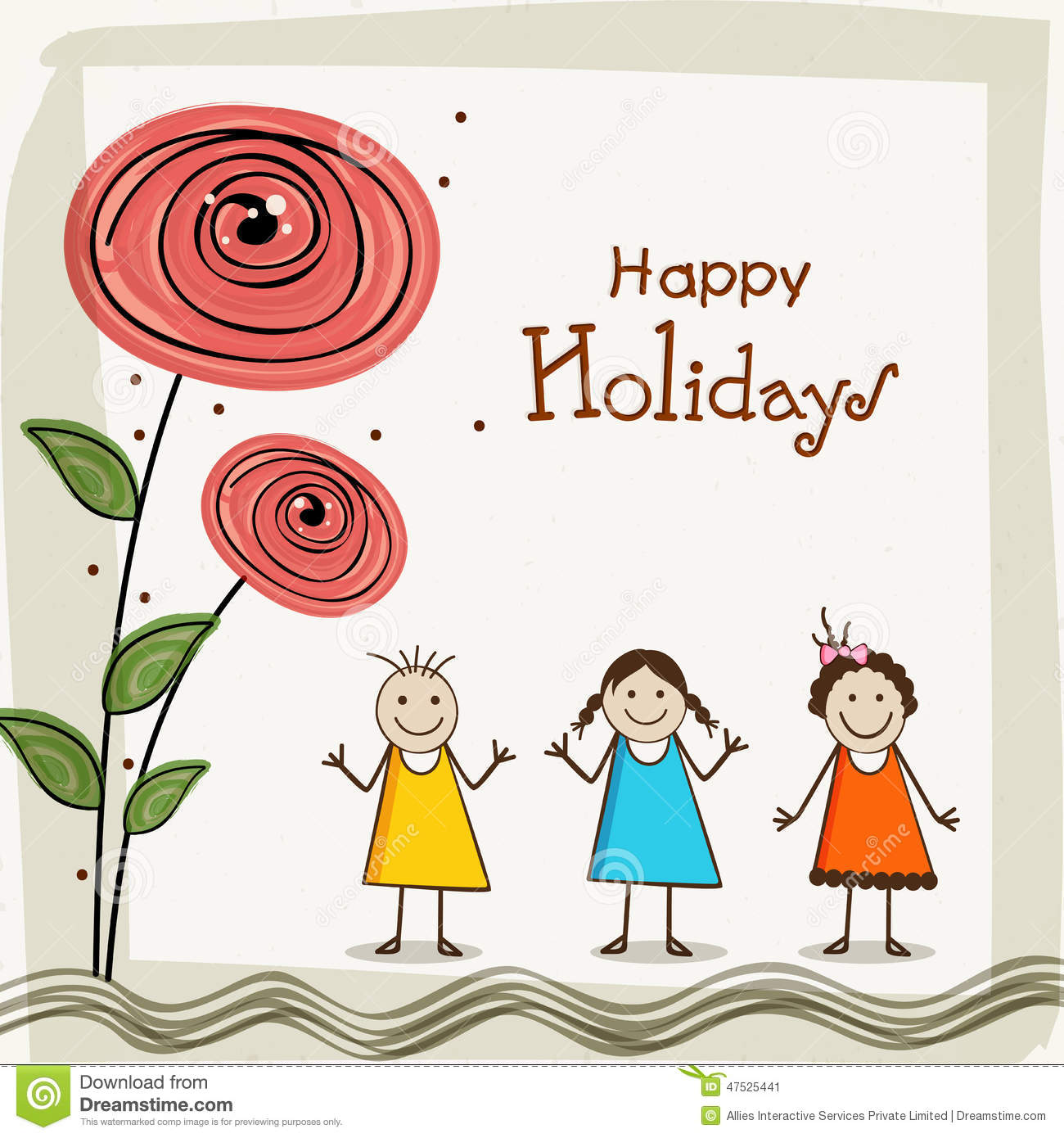 happy holiday poster with little cute girls stock illustration