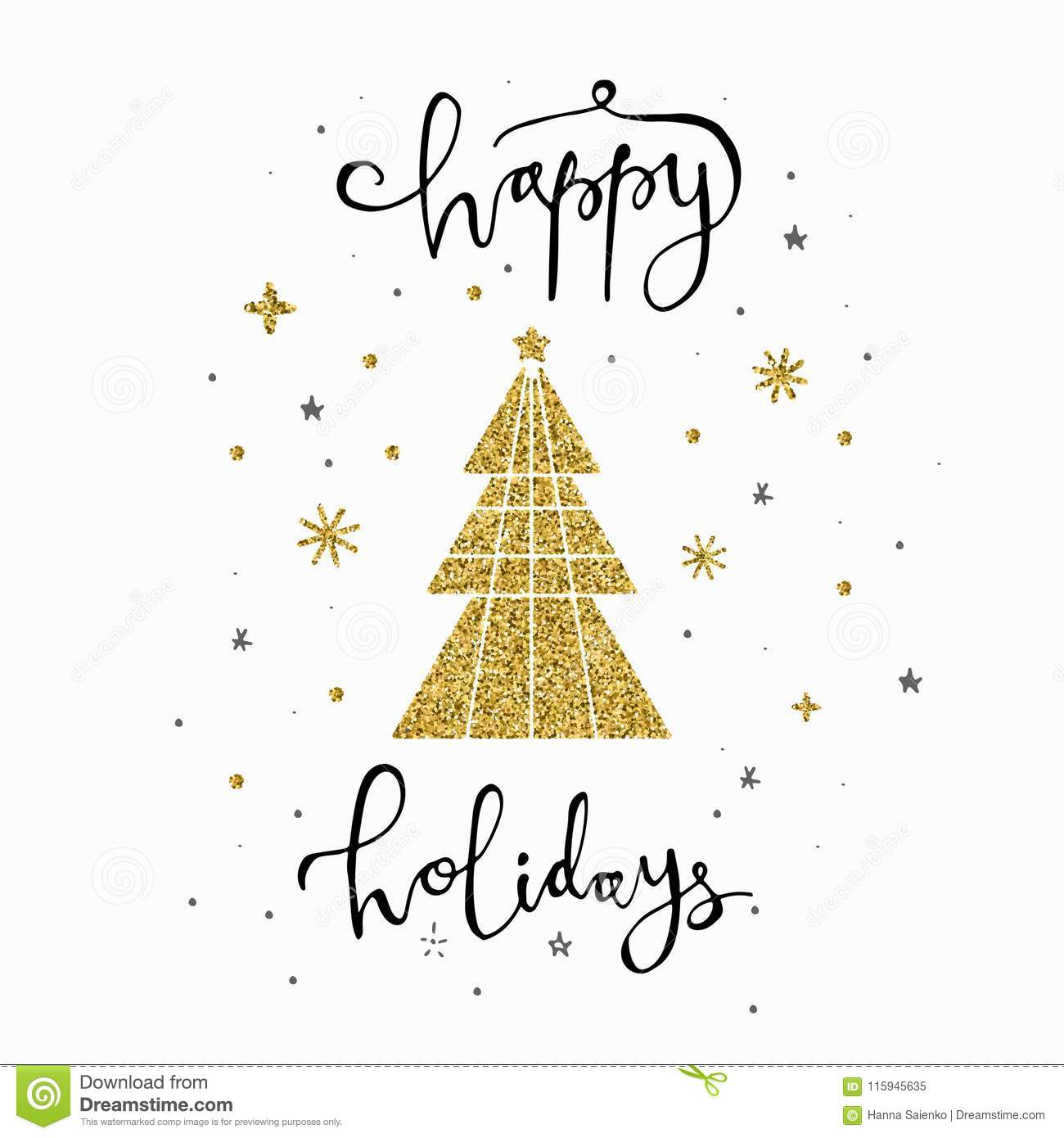 Happy Holidays Calligraphy Phrase With Gold Glitter Tree And ...