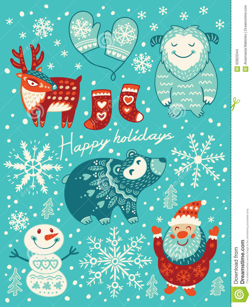 Happy holidays card christmas set with cartoon characters vector happy holidays card christmas set with cartoon characters vector illustration kristyandbryce Image collections