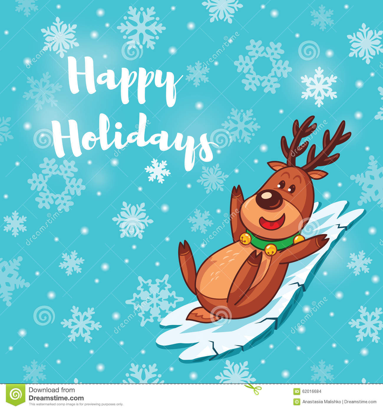 Happy holidays card with cute cartoon deer stock vector happy holidays card with cute cartoon deer kristyandbryce Choice Image
