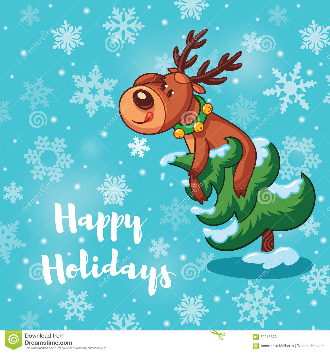 Happy holidays card with cute cartoon deer stock vector happy holidays card with cute cartoon deers stock photography kristyandbryce Image collections