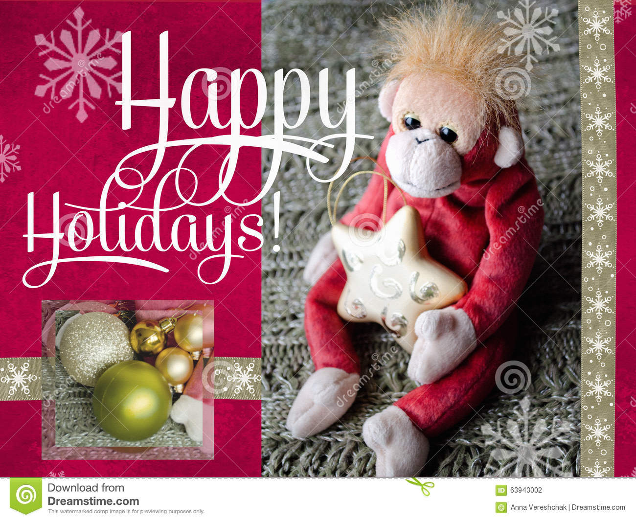 Happy holidays cards design. 2016 Year of the Monkey. Greeting card.