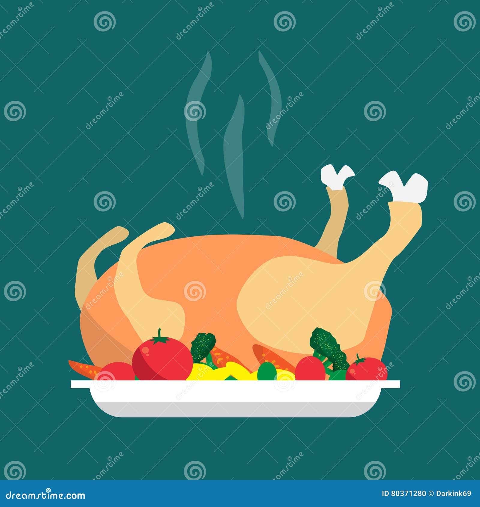 Happy Holidays Cartoon Flat Cooked Roasted Turkey ...