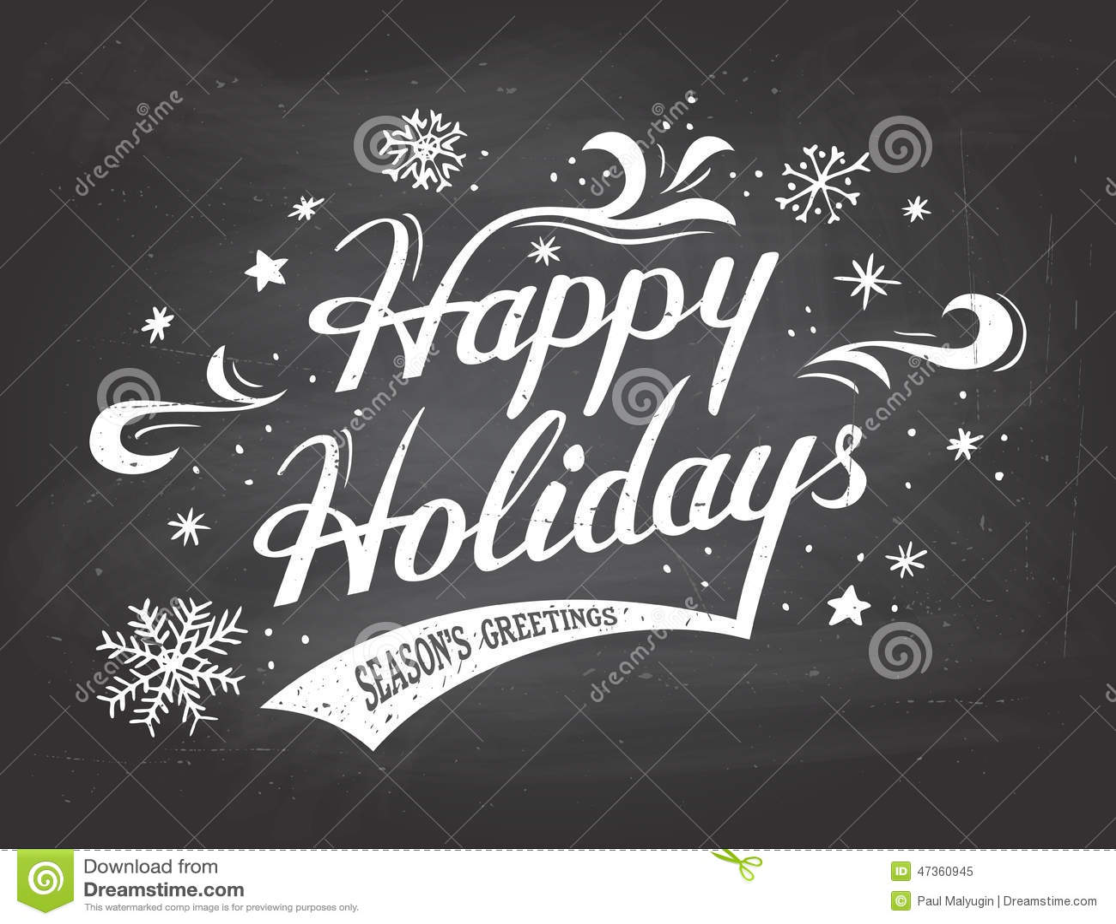 happy holidays on chalkboard background stock vector illustration