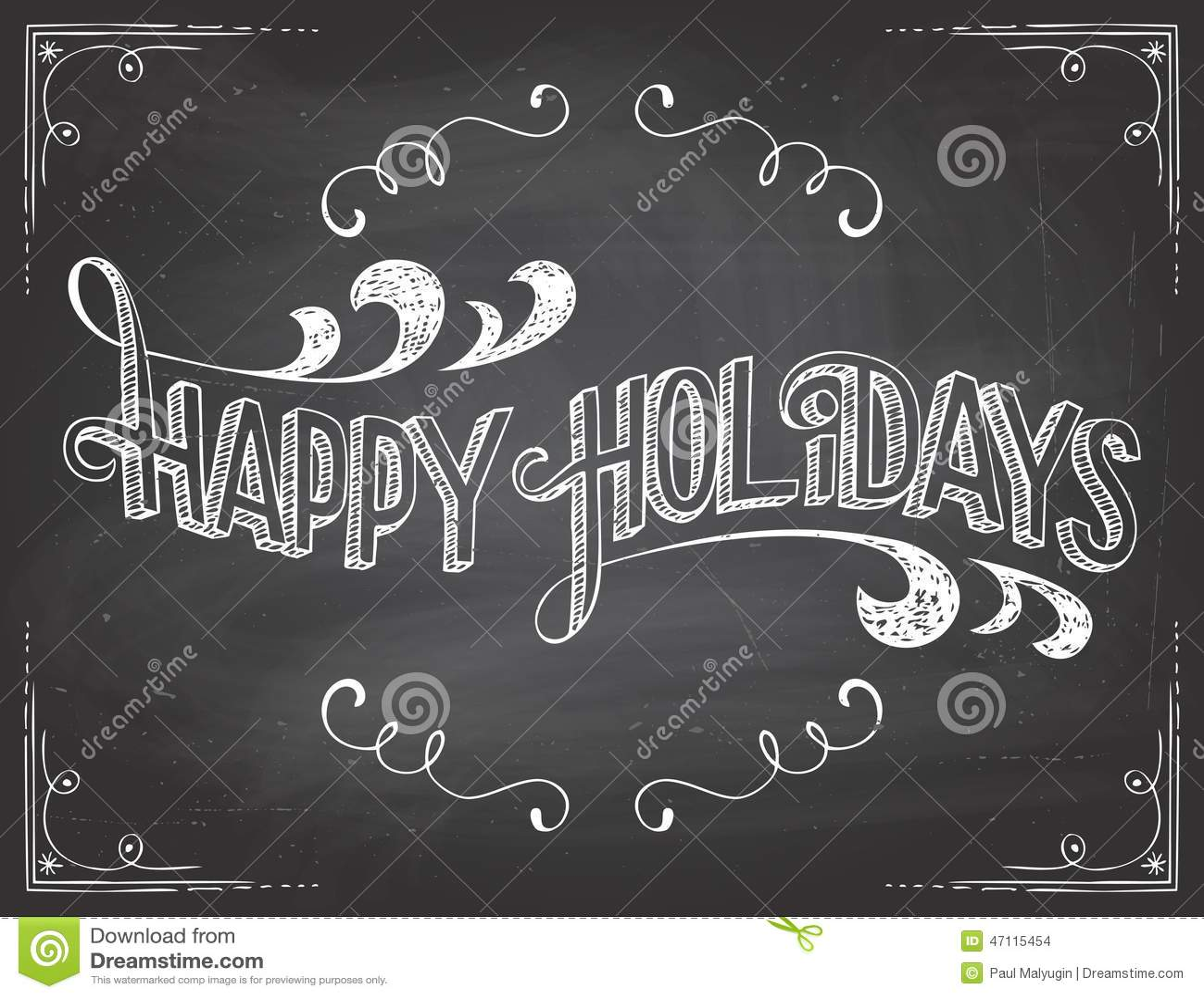 happy holidays chalkboard stock vector  image of design