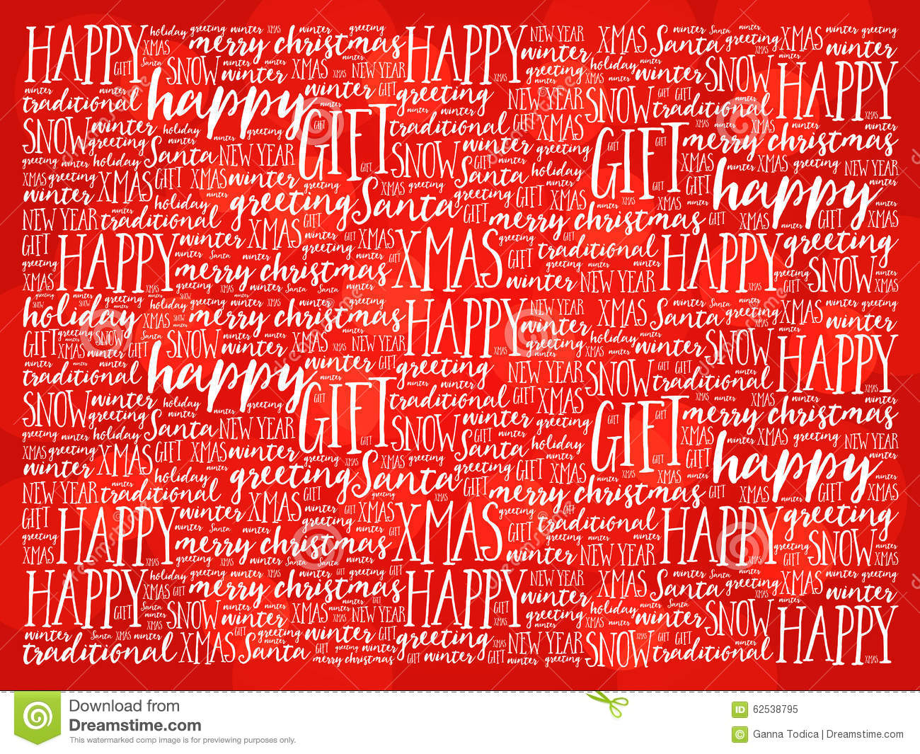 Happy Holidays And Christmas Background Word Cloud Stock