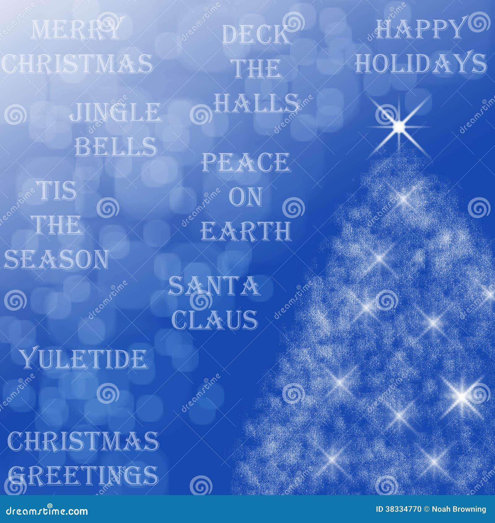 Christmas Tree Quotes: Happy Holidays Stock Photo