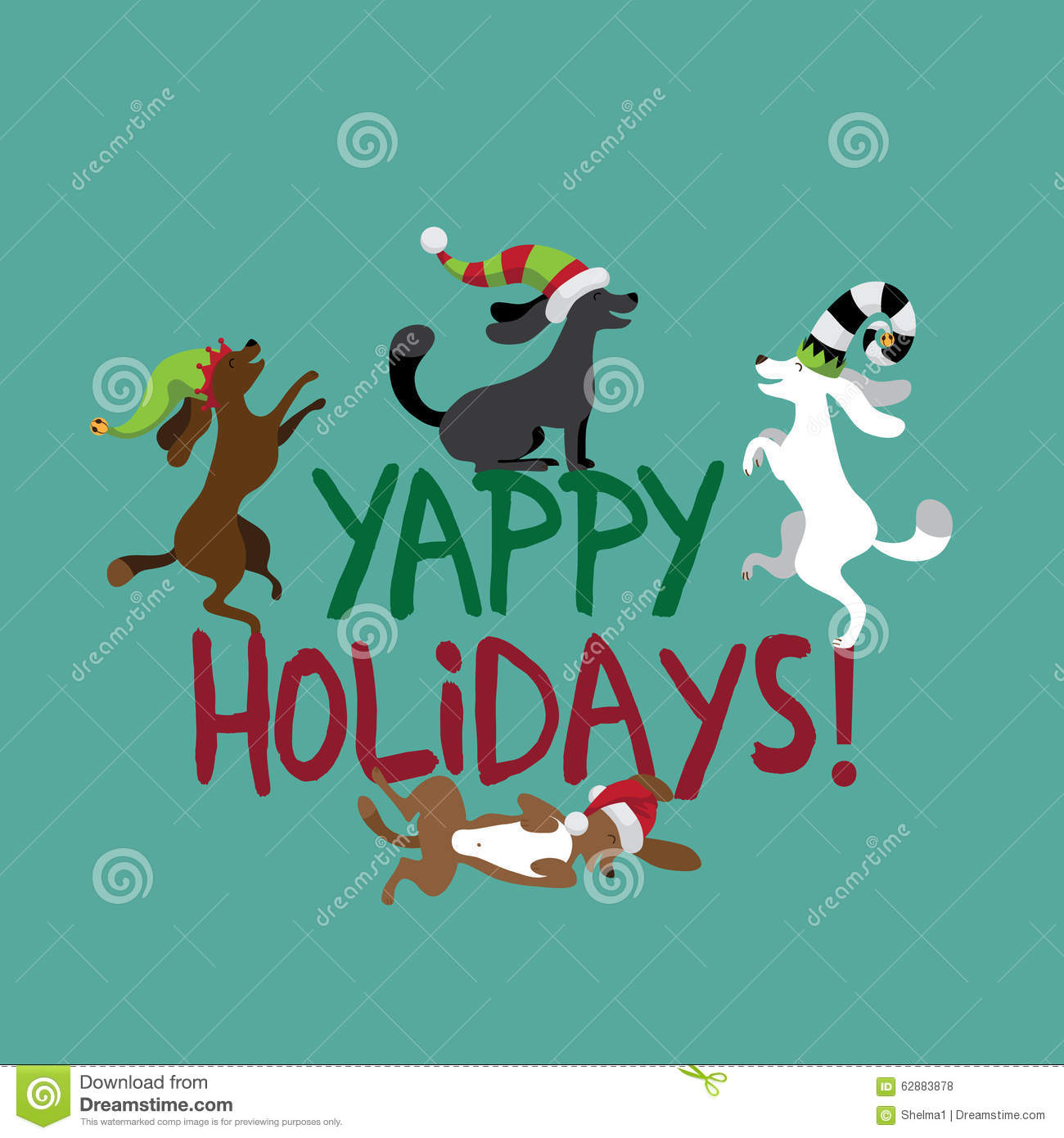 Happy Holidays Cute Dogs Wearing Silly Hats Stock Vector
