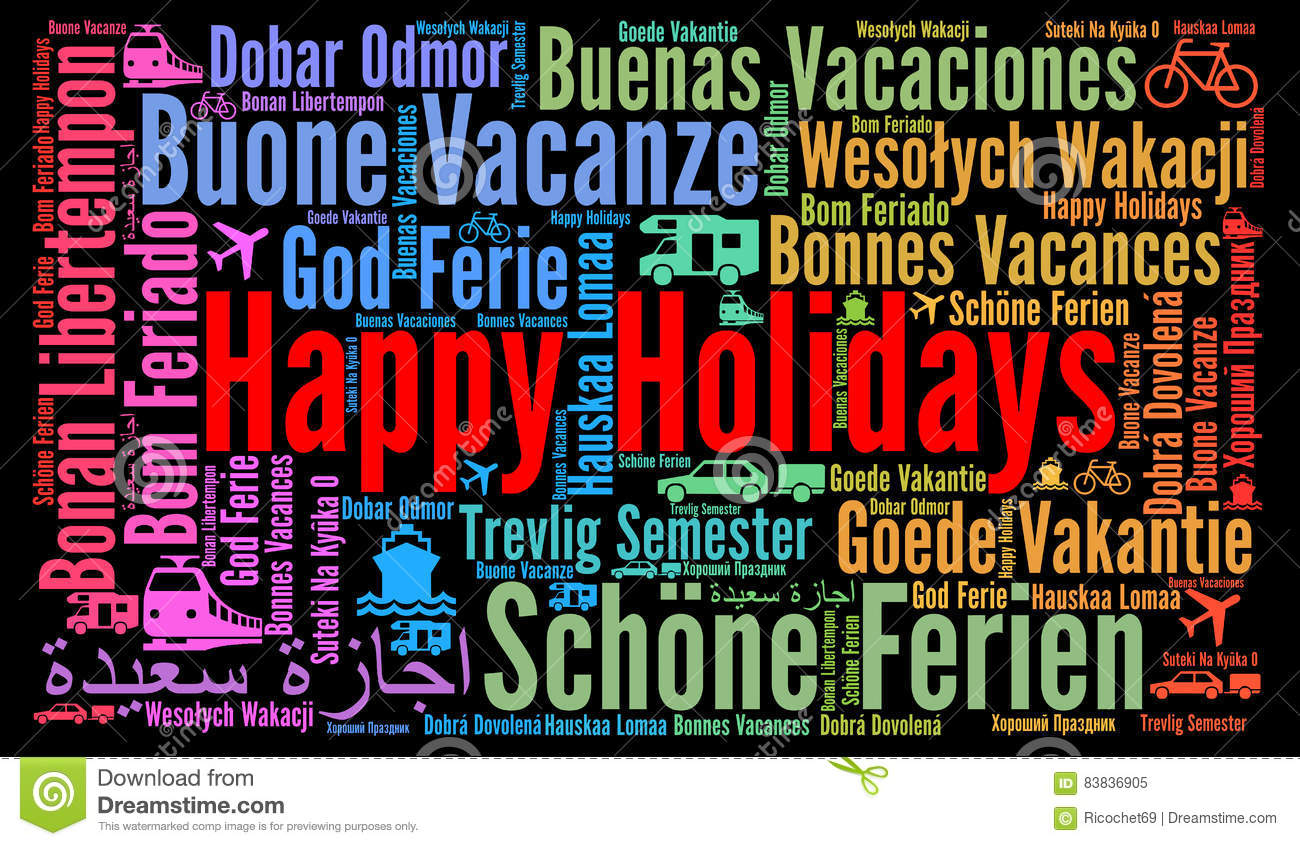 happy holidays in different languages stock illustration