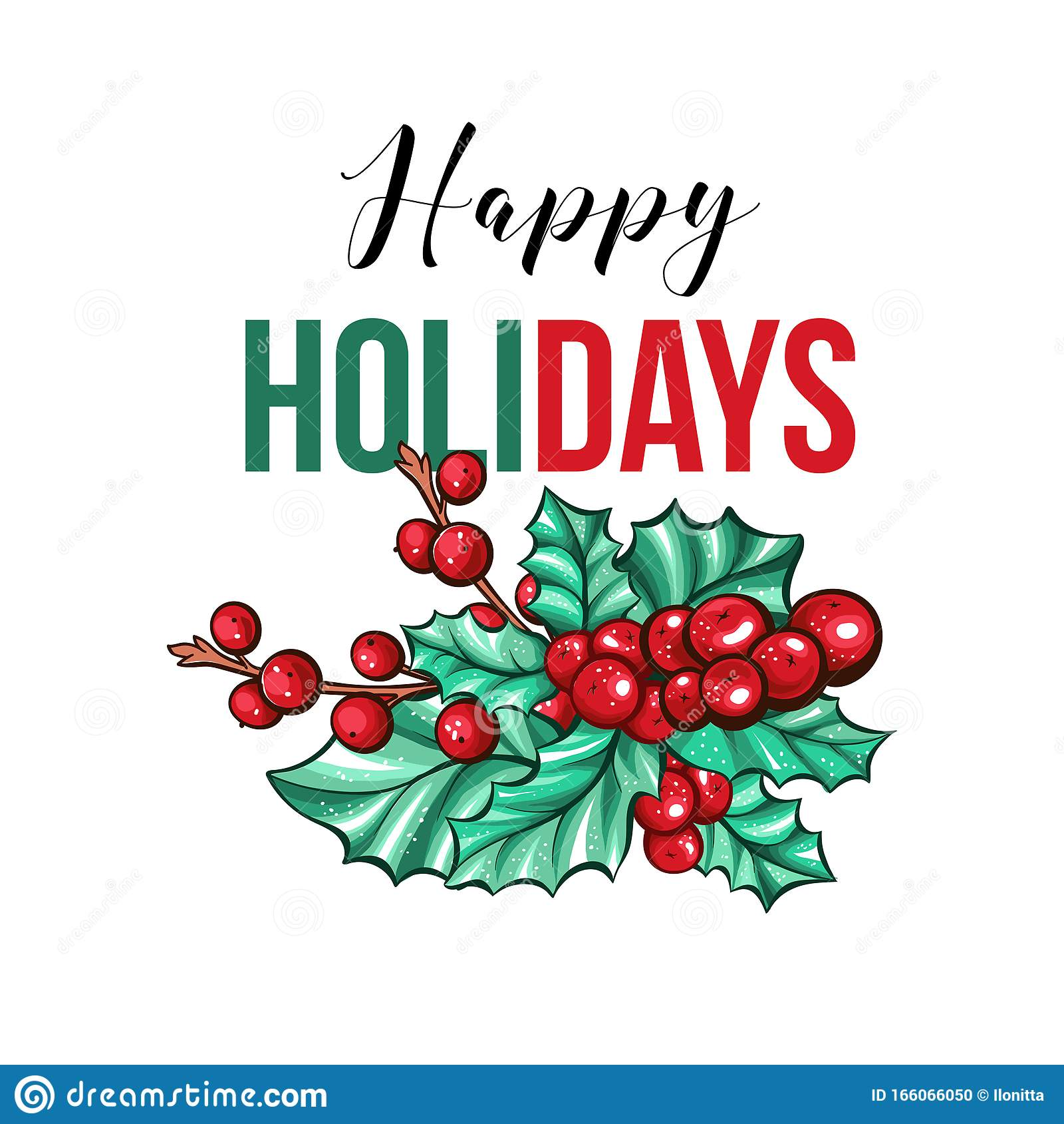 Happy Holidays Gift Card Template With Holly Berries Christmas Clipart Stock Vector Illustration Of Holly Plant 166066050