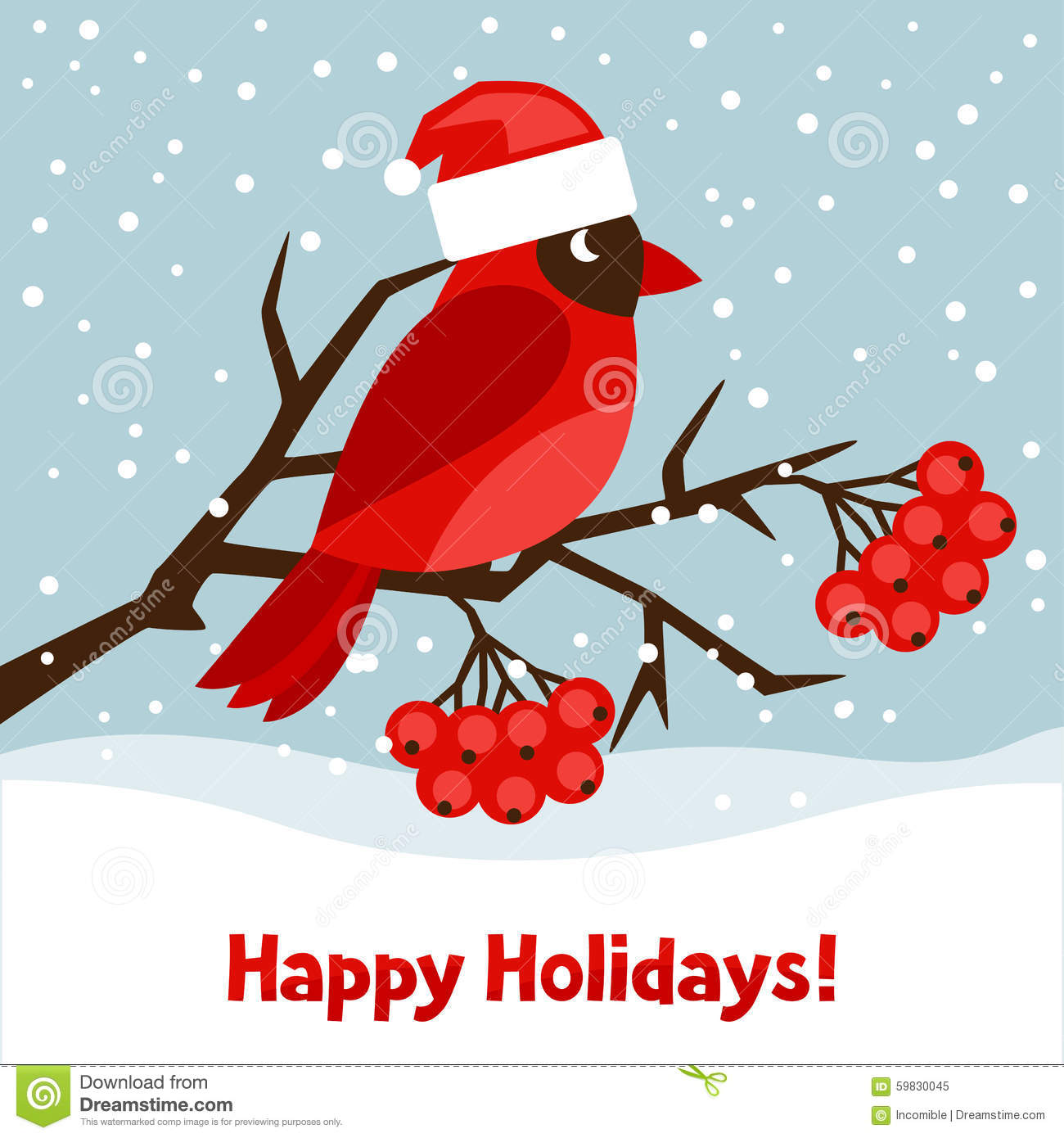 Happy Holidays Greeting Card With Bird Red Stock Vector ...