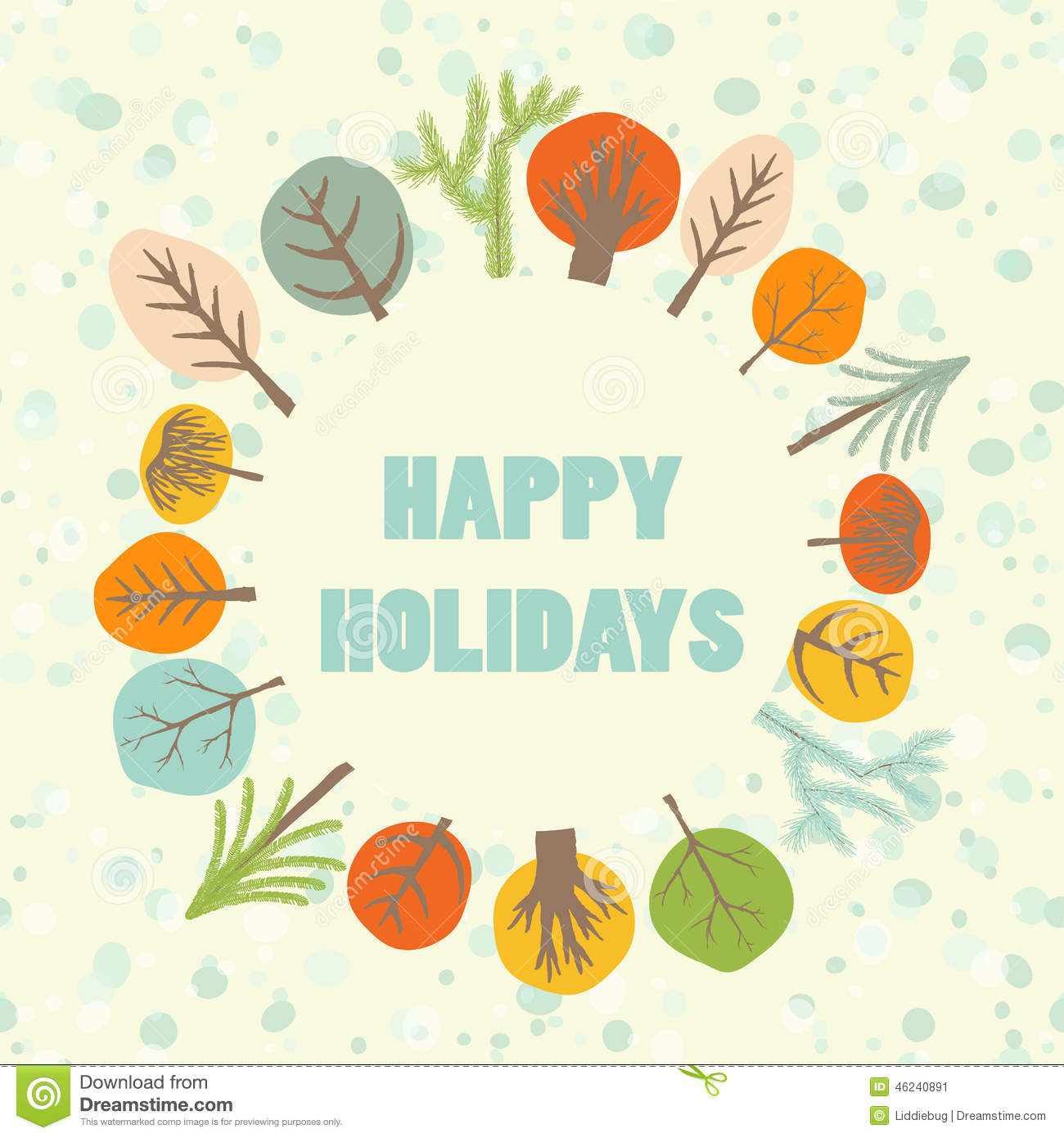 Happy Holidays Greeting Card Stock Vector Illustration Of
