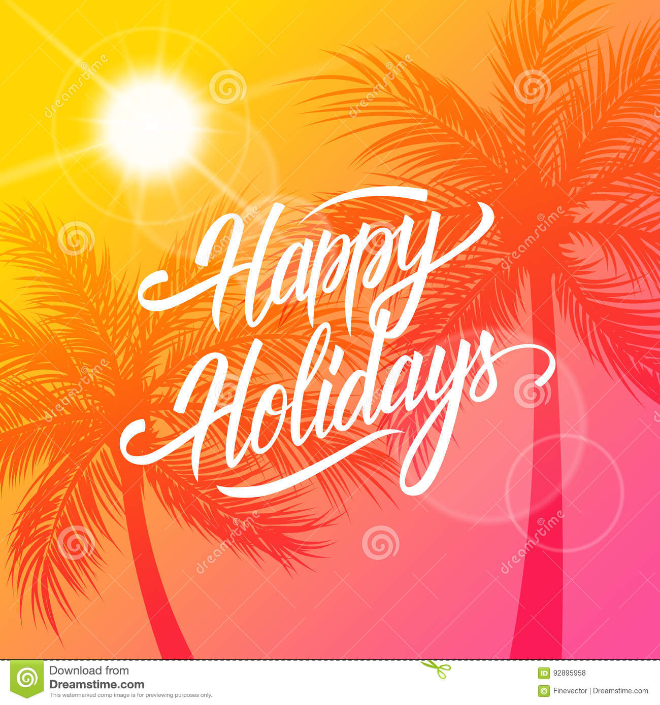 Happy holidays greeting card summertime background with happy holidays greeting card summertime background with calligraphic lettering text design and palm trees silhouette m4hsunfo