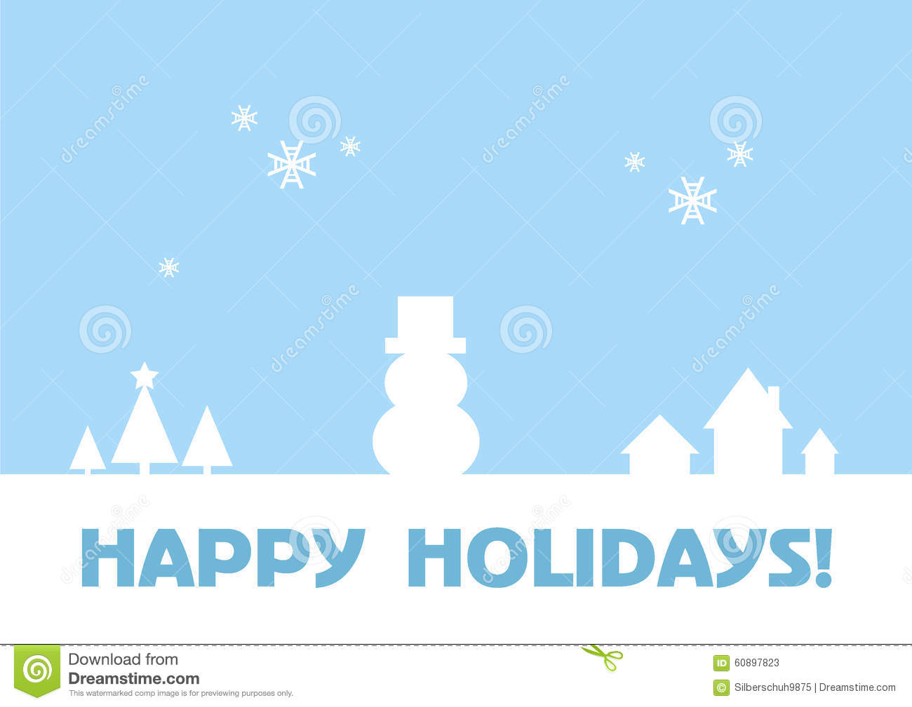 Happy Holidays Greeting Card Winter Background Stock Vector