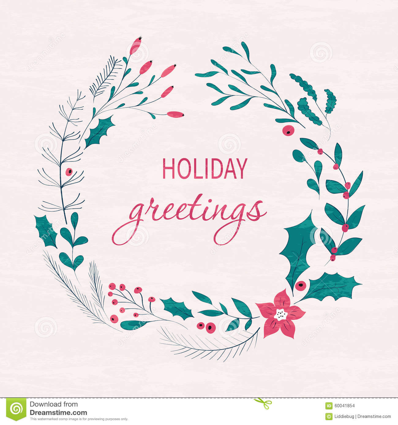 Happy Holidays Greeting Card Stock Vector Illustration Of Berry
