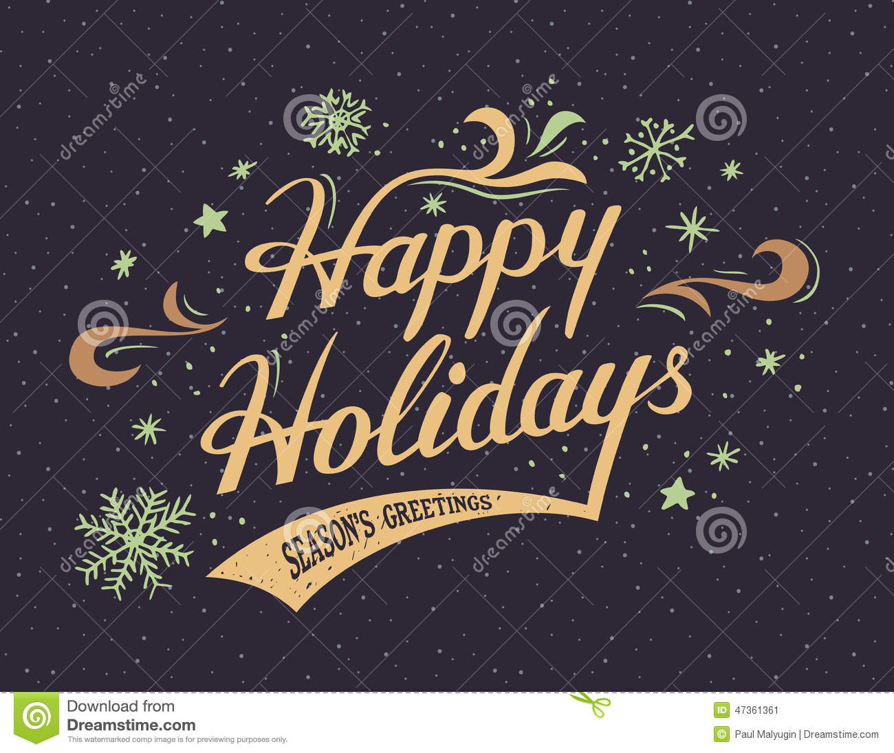 Happy Holidays Hand Lettering Card Stock Vector