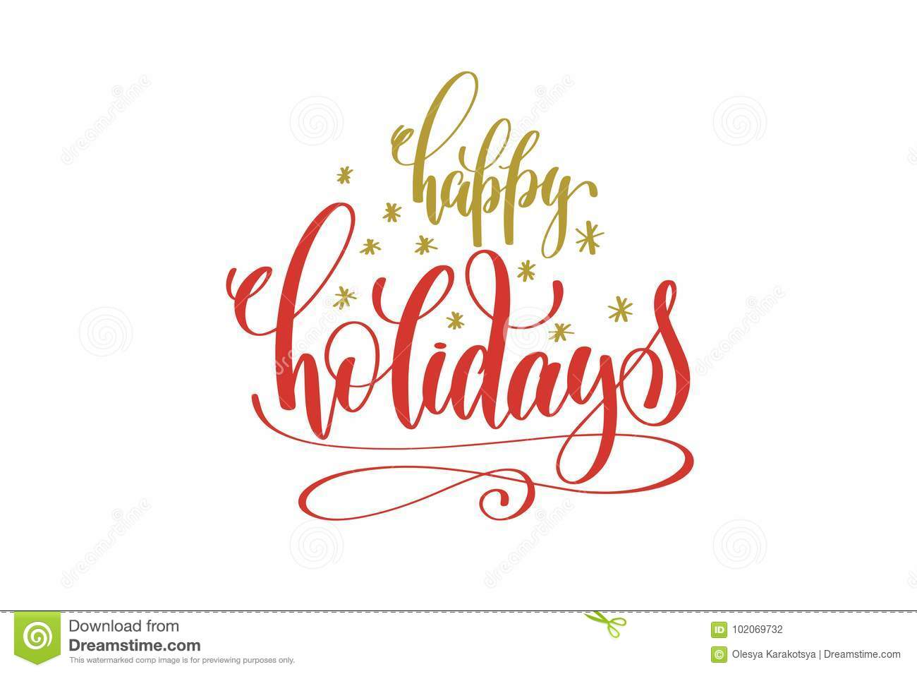 Happy Holidays Hand Lettering Holiday Red And Gold Inscription Stock ...