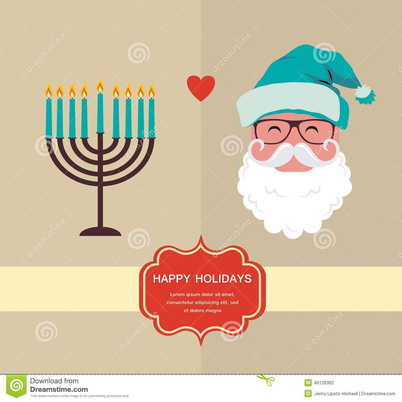 Happy Holidays, Jewish Holiday Menorah And Xmas Santa Stock ...