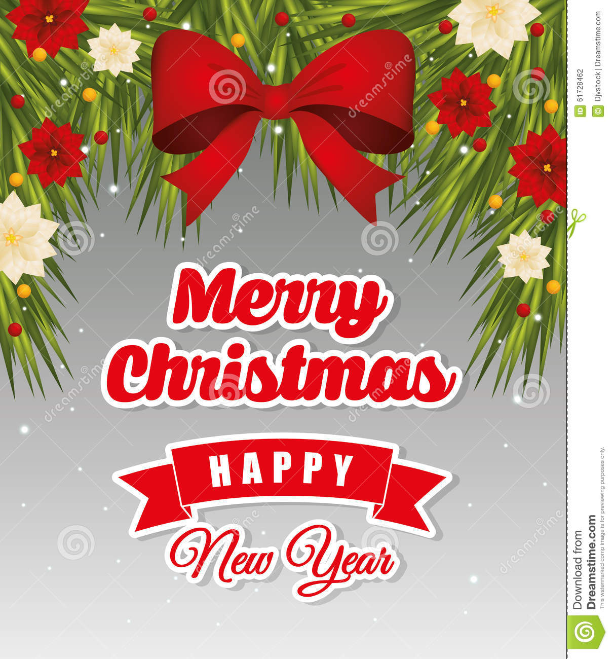 Merry Christmas Card.Happy Holidays And Merry Christmas Card Design Stock Vector