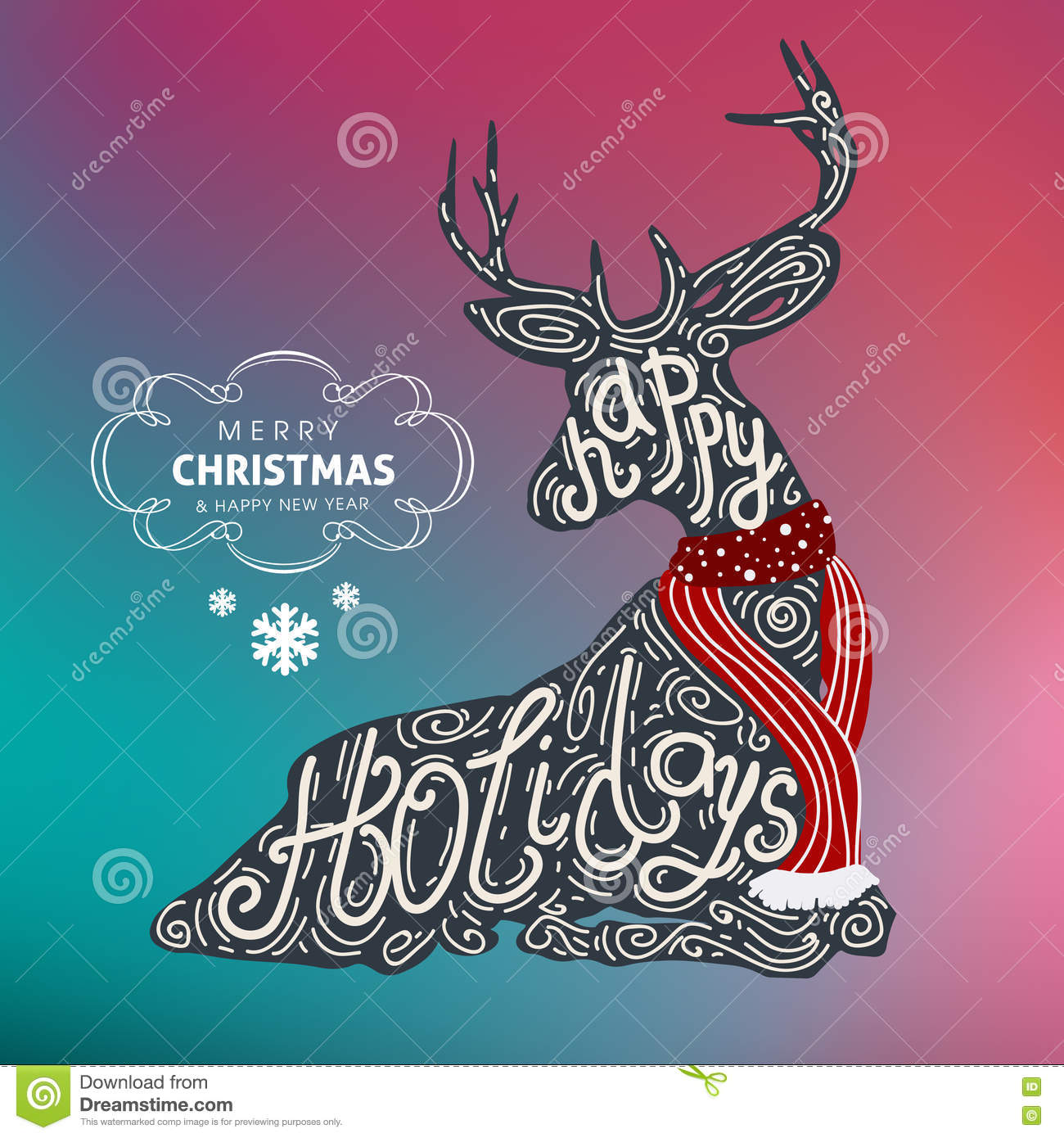 download happy holidays merry christmas and happy new year colorful vector design 2017 stock vector