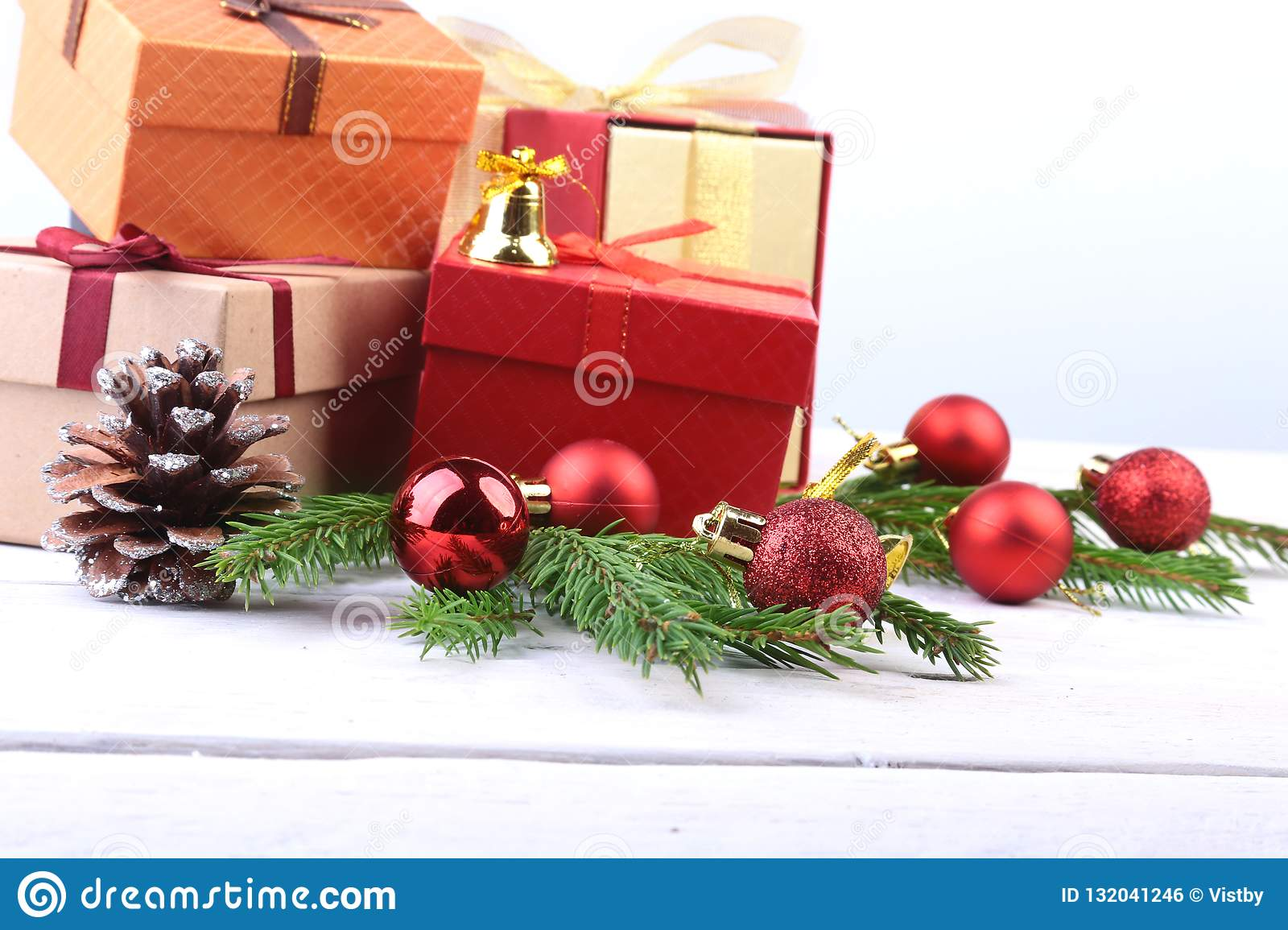 Happy Holidays. New Year Or Christmas Decorations With ...
