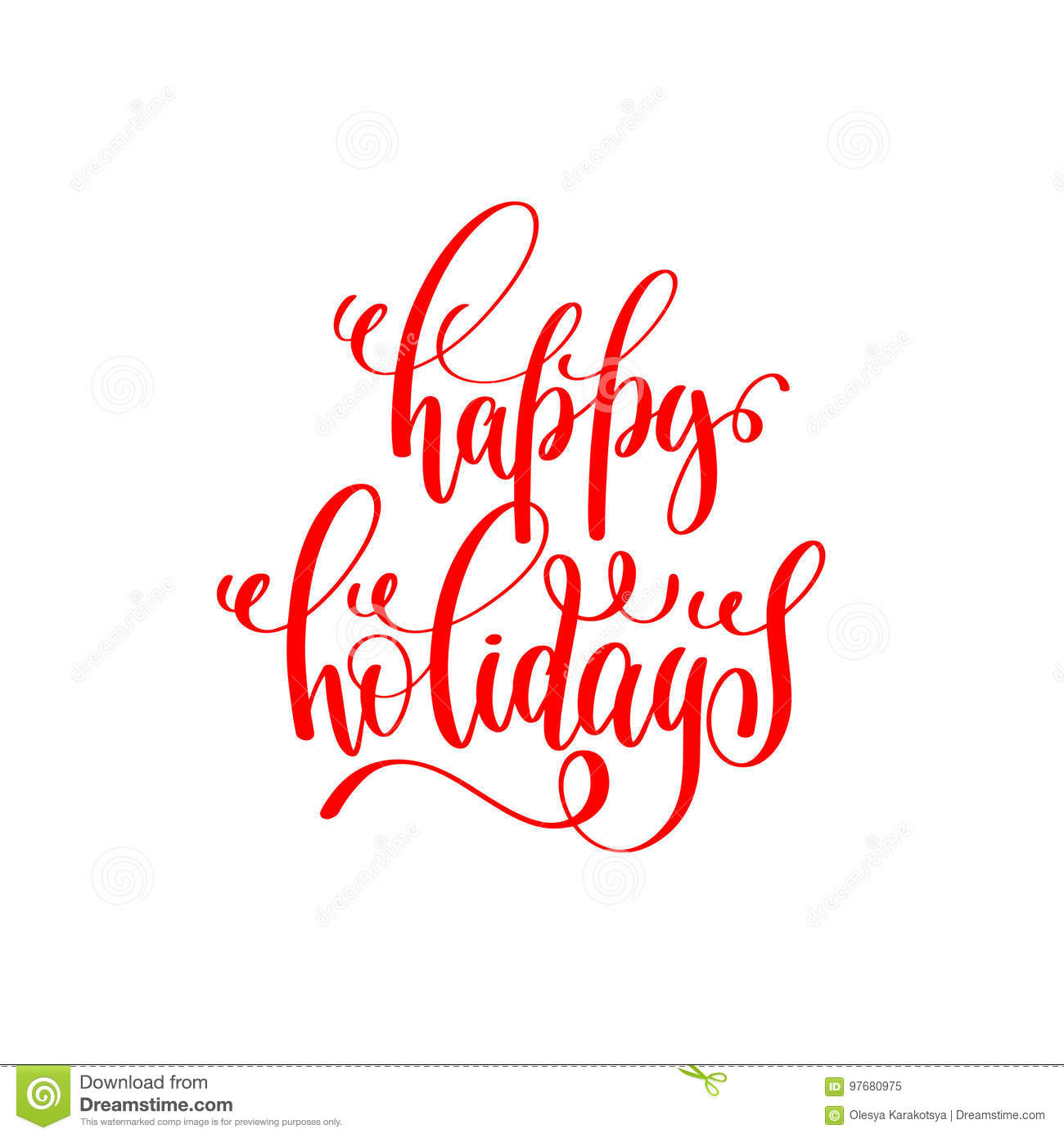 Happy Holidays Red Hand Lettering Inscription To Christmas And 2 ...
