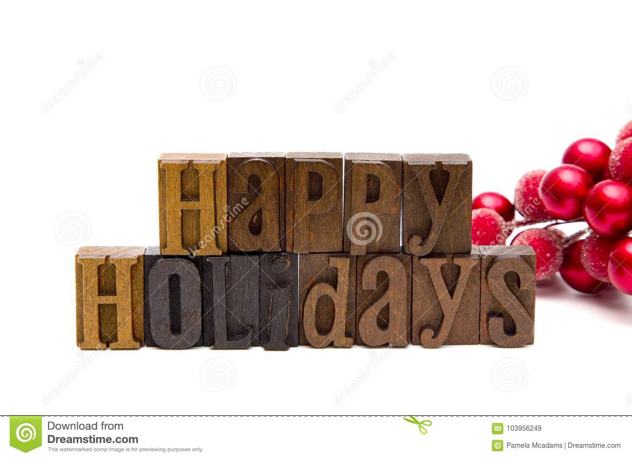Happy Holidays Spelled in Type Set