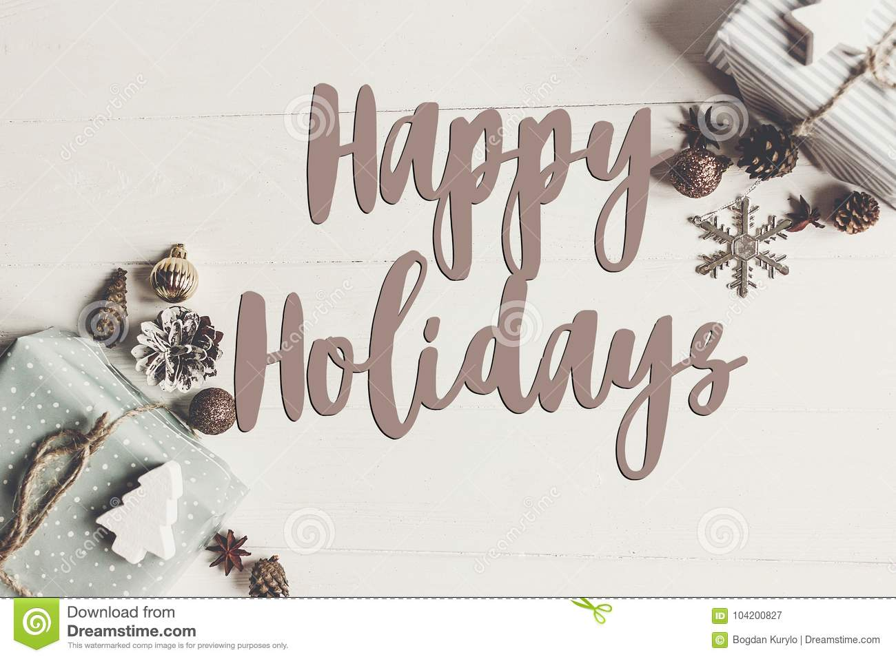 Download Happy Holidays Text, Seasonal Greetings Card Sign. Flat Lay. Sty Stock Image - Image of text, image: 104200827