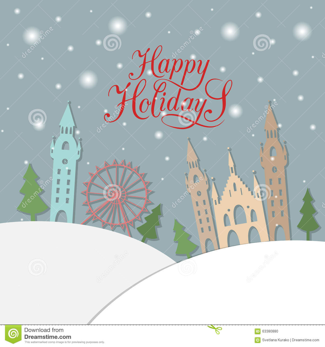 Happy Holidays Typography For Christmasnew Year Greeting Card Stock