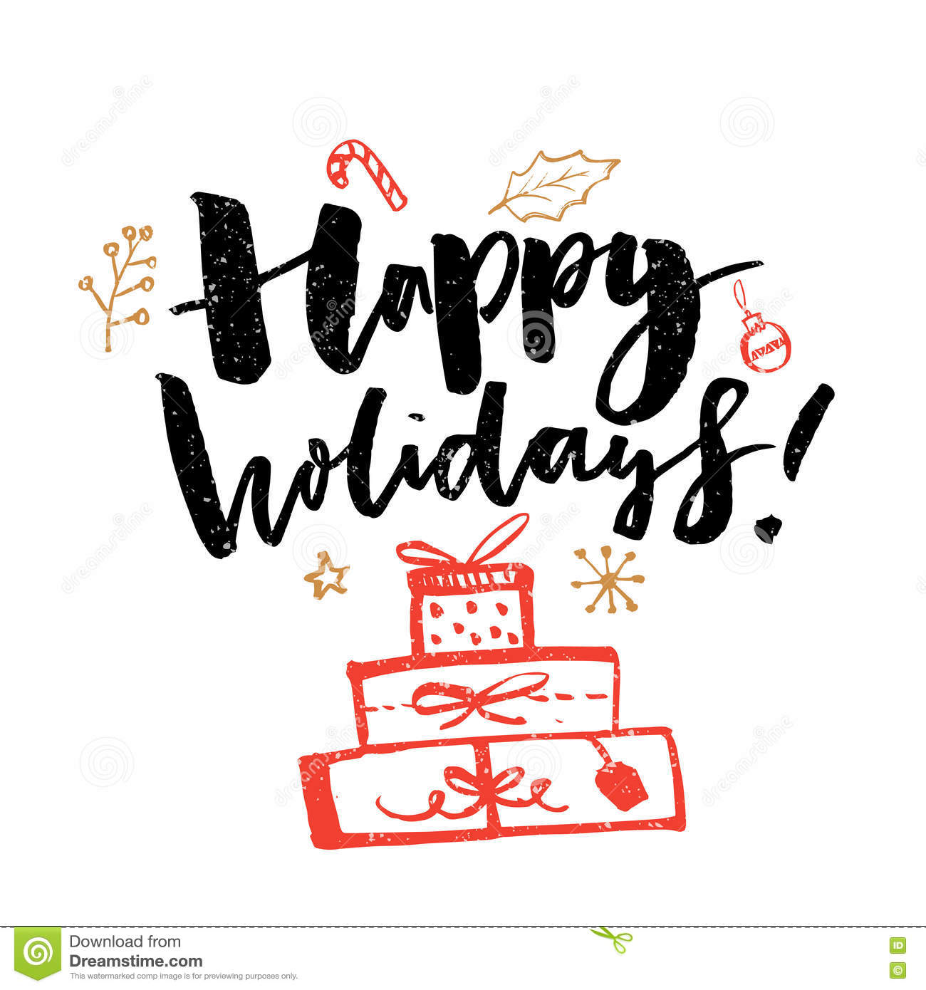 Happy holidays typography greeting card with calligraphy