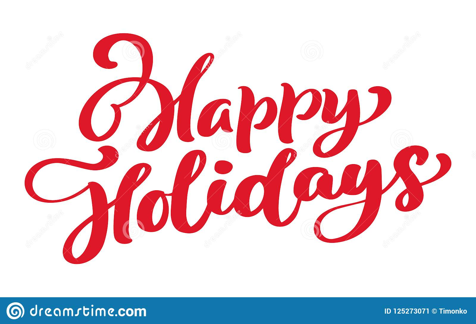happy holidays vector text calligraphic lettering design