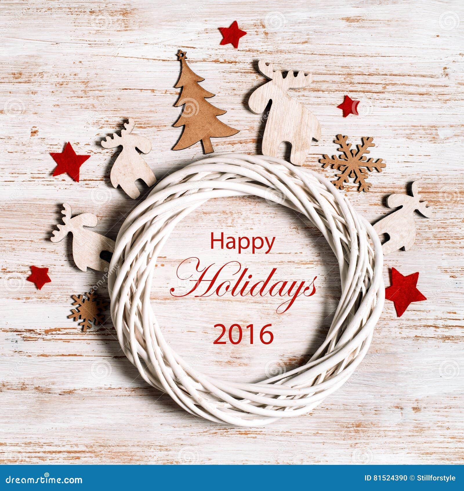 Happy Holidays Wallpaper On Shabby Chic Style Stock Illustration