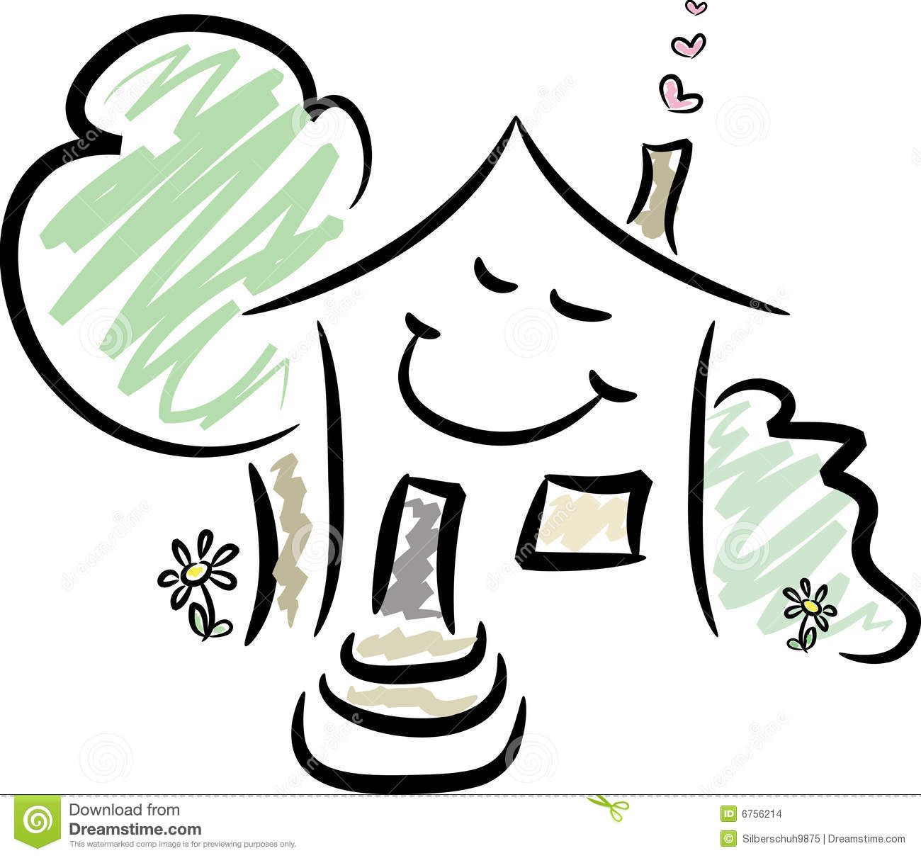 Happy Home Stock Vector Illustration Of Drawing Residence 6756214