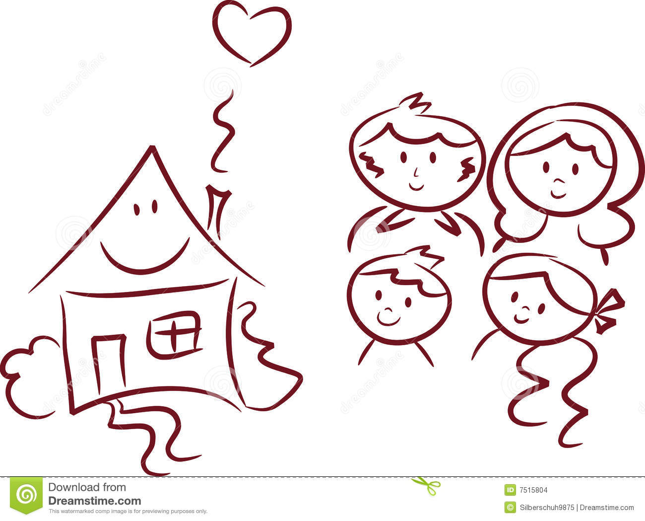 Happy Home And Happy Family Stock Vector Illustration Of Brother