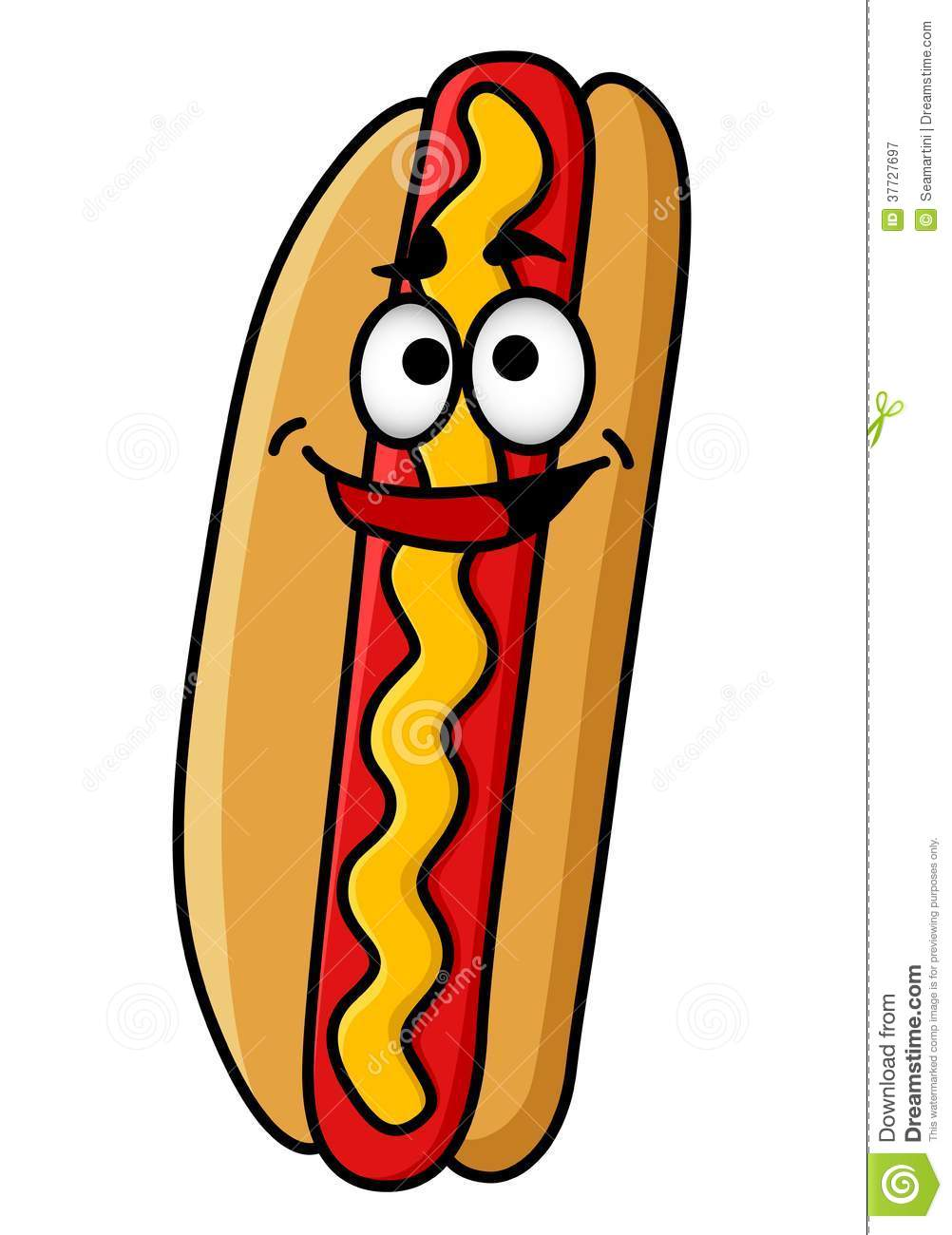 Cartoon appy hot dog with moustard with a smiling face standing ...