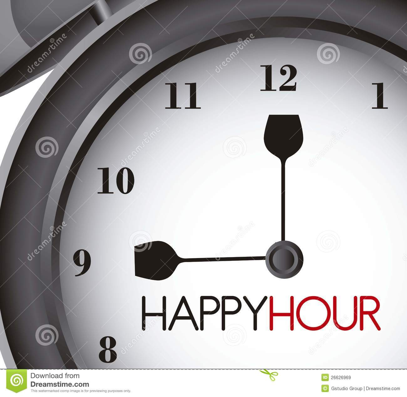 Happy hour with clock alarm, close up. vector illustration.