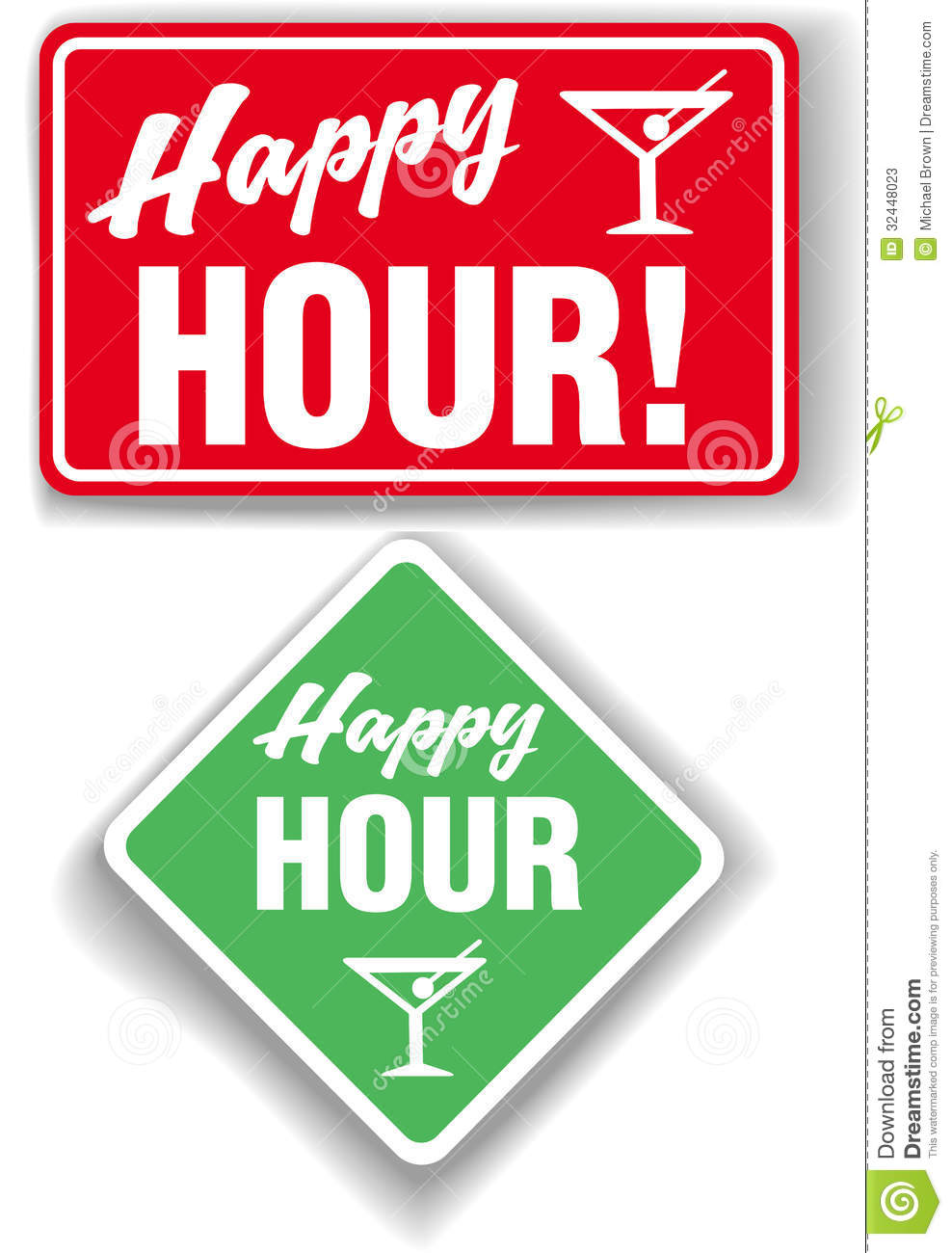 Happy Hour Cocktail Bar Signs Stock Vector Illustration Of Signs