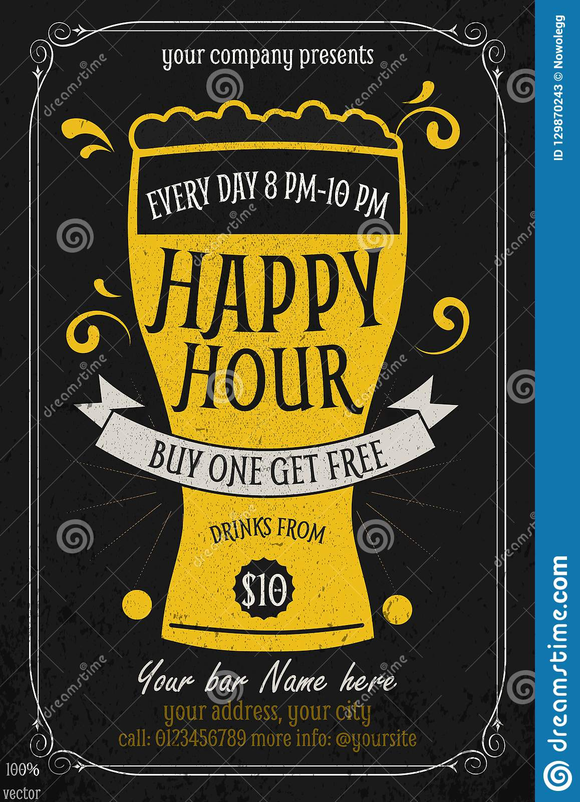 Happy Hour Free Beer Vintage Illustration Template Stock Vector