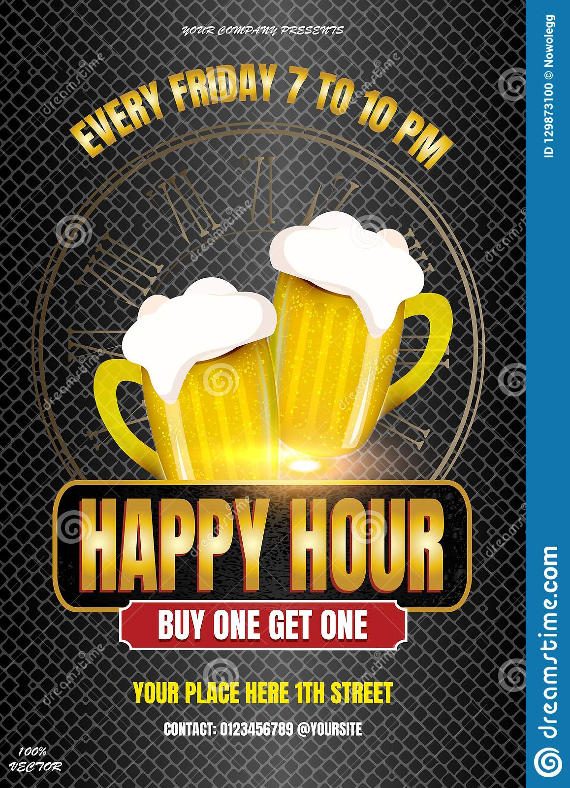 Happy Hour Invitation Poster Template Stock Vector Illustration