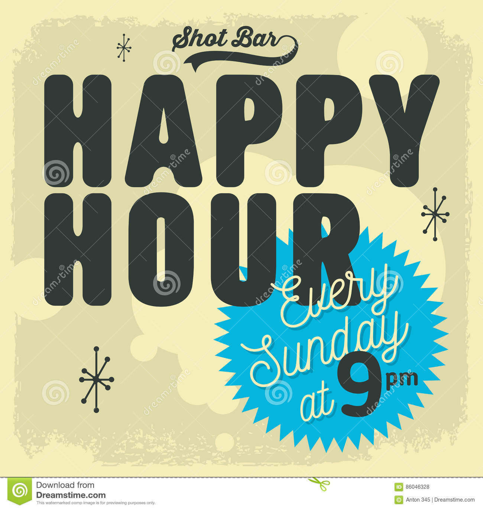 Happy Hour New Age 50s Vintage Label Poster Sign Design