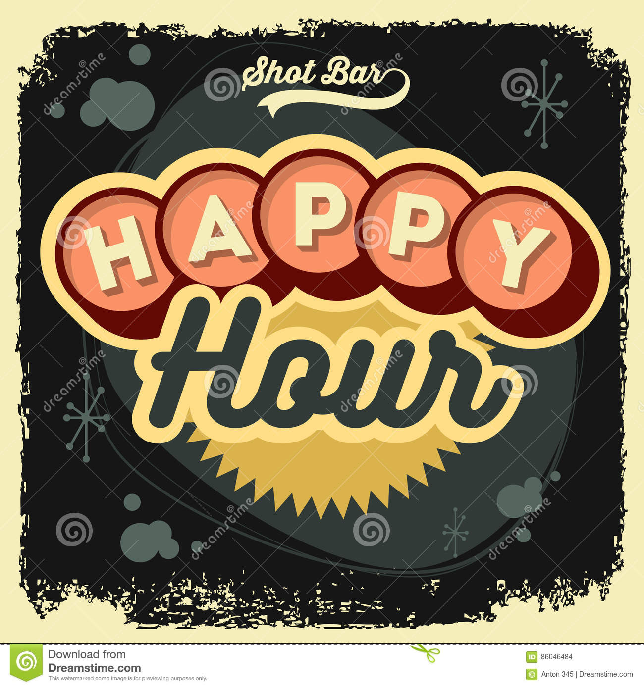 Poster design 50s - Happy Hour New Age 50s Vintage Label Poster Sign Design With Ret