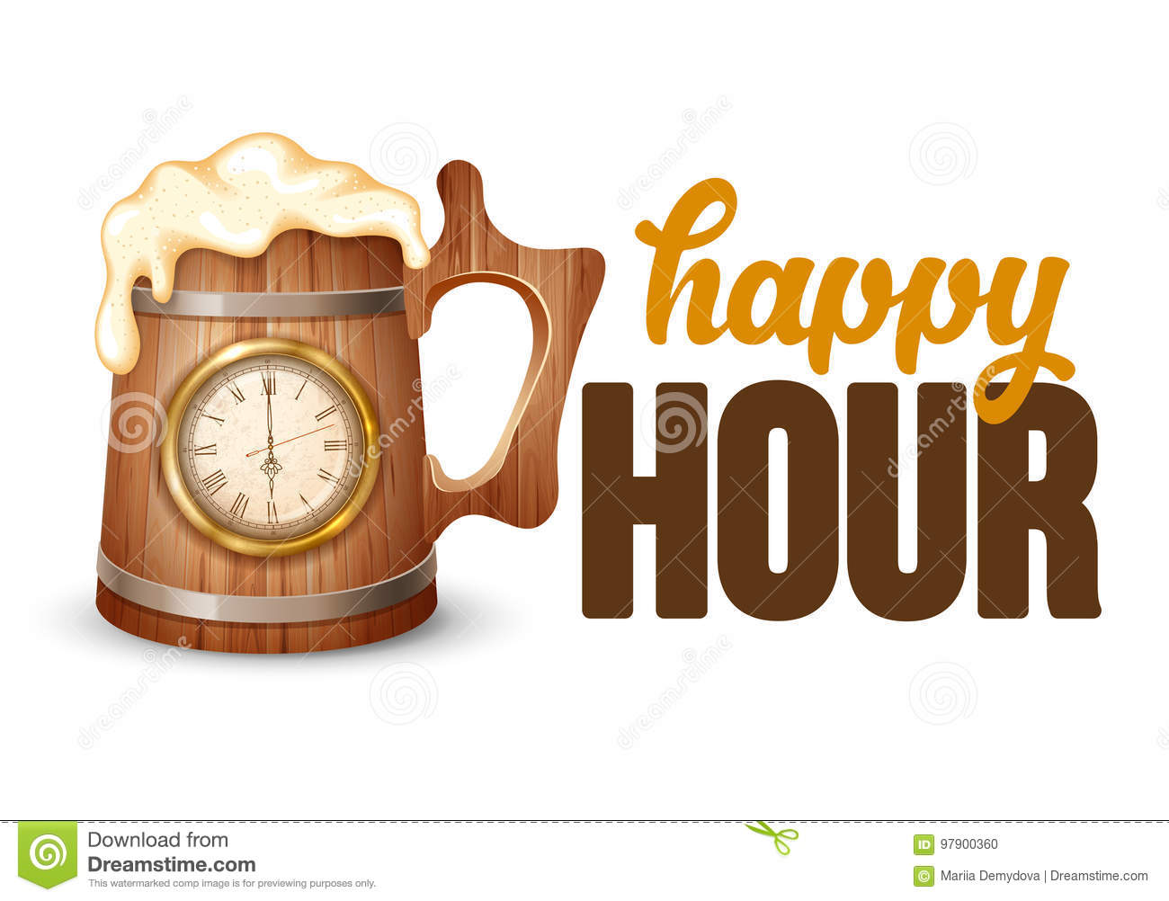 Happy Hour Poster Template Stock Vector Illustration Of Gift 97900360