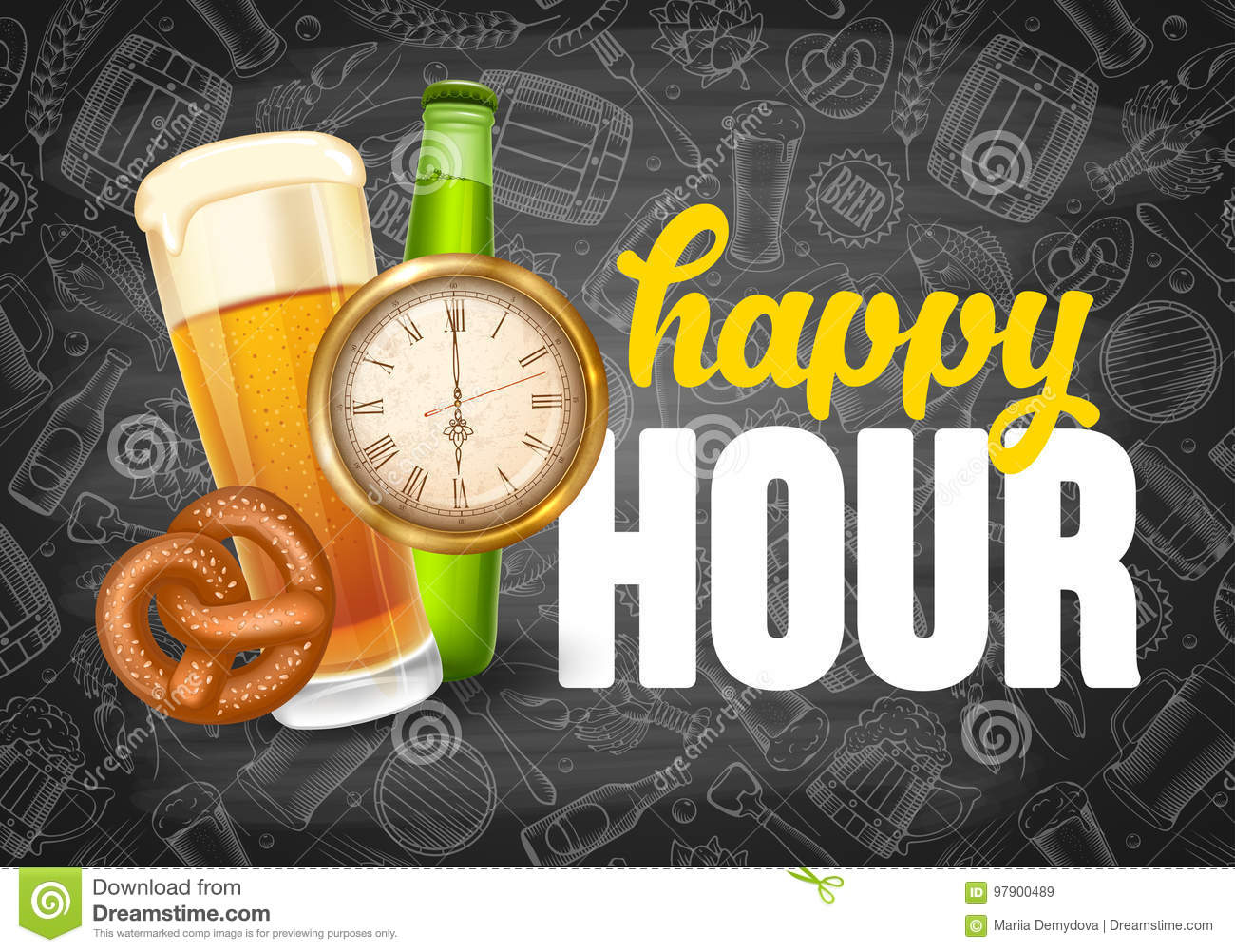 Happy Hour Poster Template Stock Vector Illustration Of Advertising