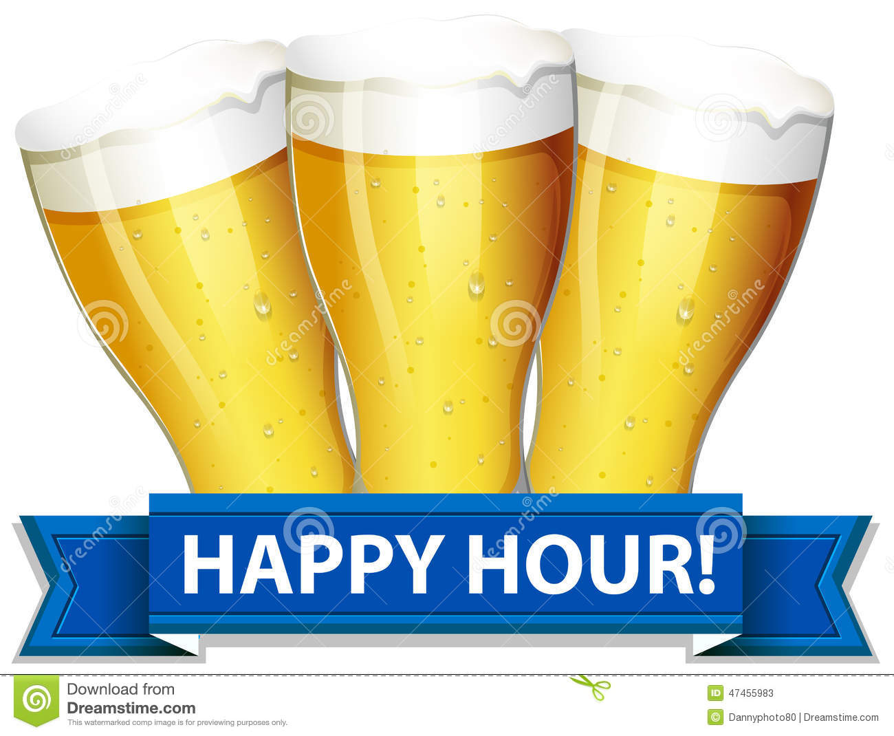 happy hour template with glasses of beers on a white background.