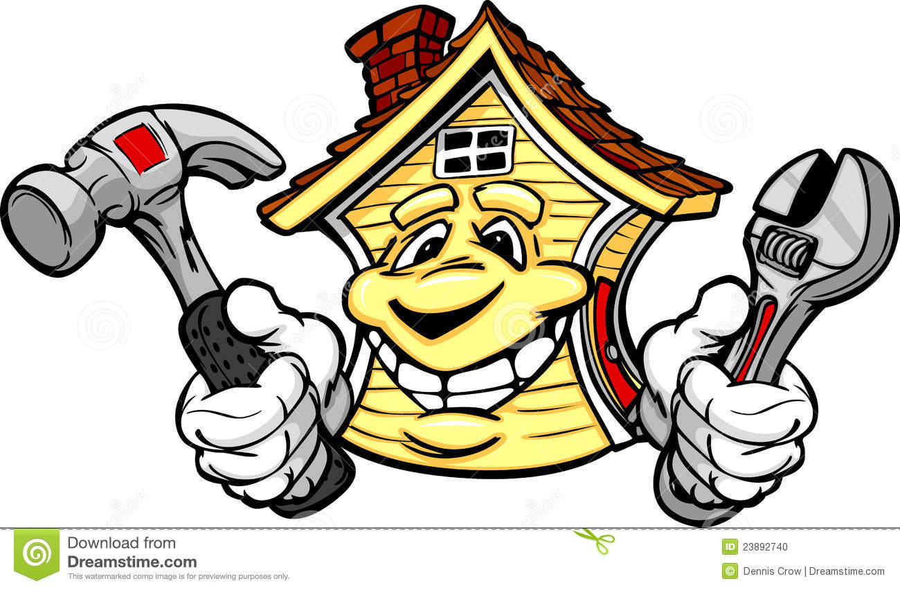 Happy House Holding Home Repair Tools Stock Photo Image